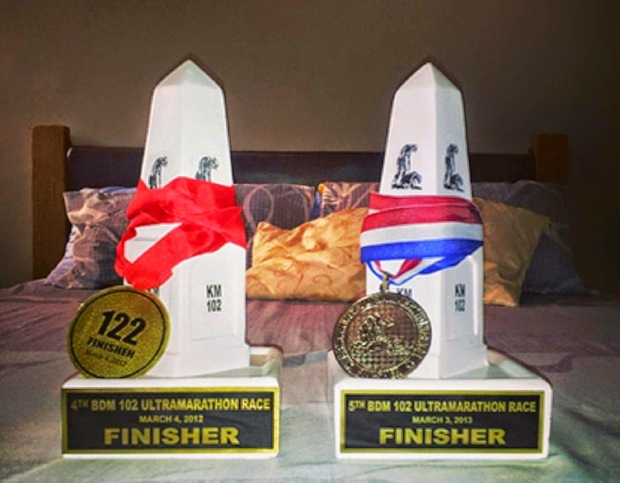 Back to back Bataan Death March 102K finisher's trophies